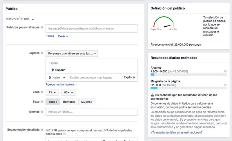 Definir el público objetivo para hacer publicidad en Facebook